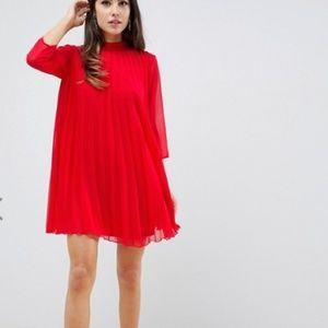 ASOS DESIGN pleated trapeze mini dress